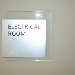 office identification with braille sign